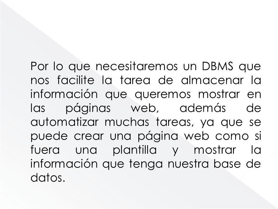 Por lo que necesitaremos un DBMS que nos facilite la tarea de almacenar la información que queremos mostrar en las páginas web, además de automatizar