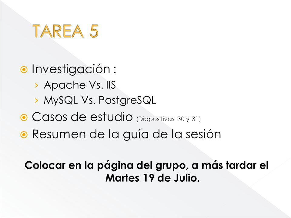 Investigación : Apache Vs. IIS MySQL Vs. PostgreSQL Casos de estudio (Diapositivas 30 y 31) Resumen de la guía de la sesión Colocar en la página del g