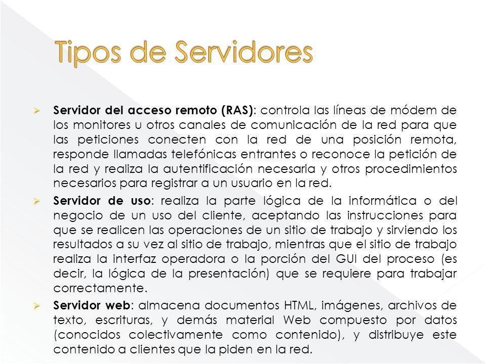 Servidor de Base de Datos (database server): provee servicios de base de datos a otros programas u otras computadoras, como es definido por el modelo cliente-servidor.
