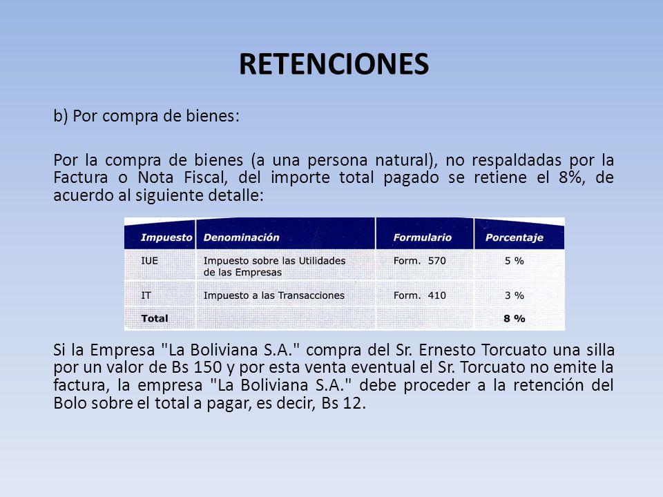 RETENCIONES b) Por compra de bienes: Por la compra de bienes (a una persona natural), no respaldadas por la Factura o Nota Fiscal, del importe total p
