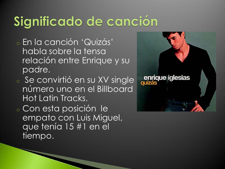 o En la canción Quizás habla sobre la tensa relación entre Enrique y su padre. o Se convirtió en su XV single número uno en el Billboard Hot Latin Tra
