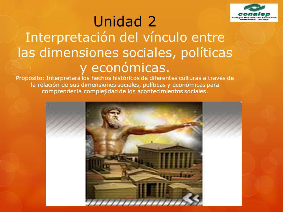 Unidad 2 Interpretación del vínculo entre las dimensiones sociales, políticas y económicas. Propósito: Interpretará los hechos históricos de diferente