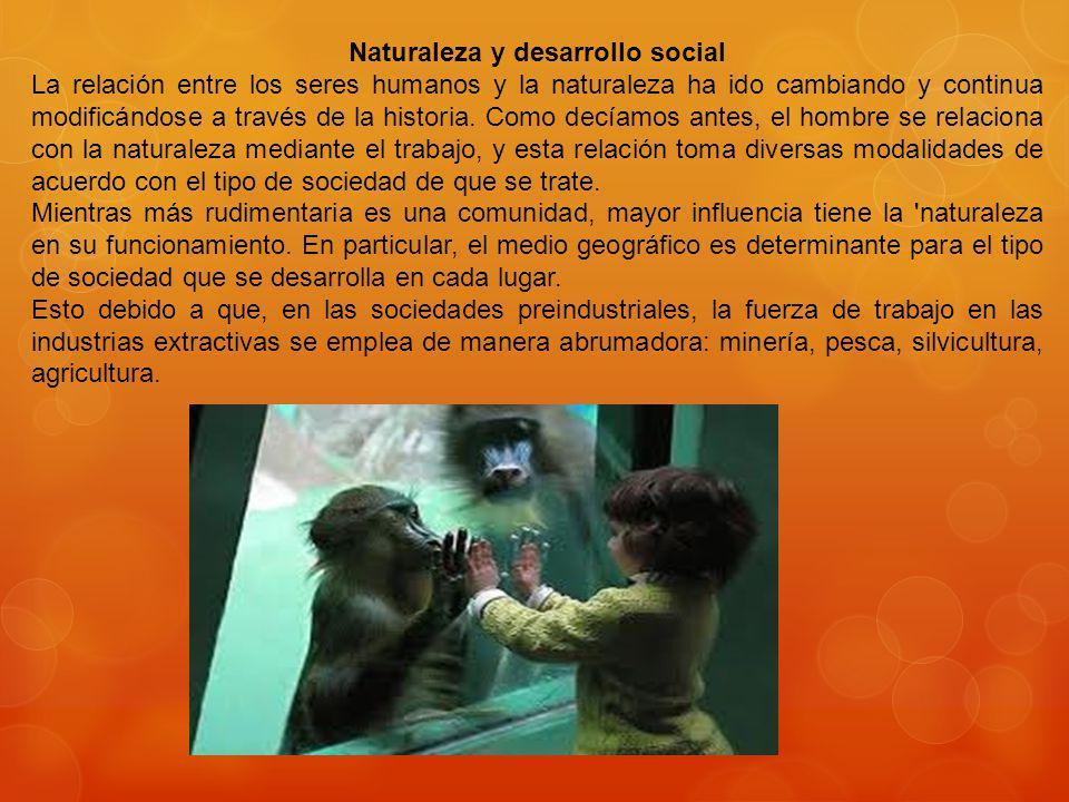 Naturaleza y desarrollo social La relación entre los seres humanos y la naturaleza ha ido cambiando y continua modificándose a través de la historia.
