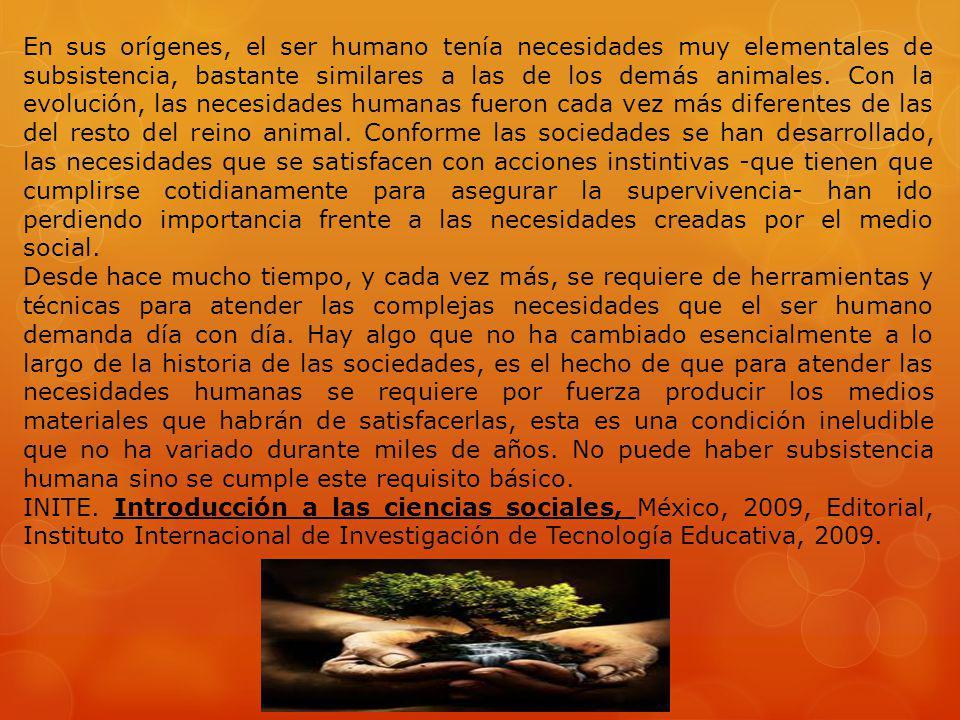 En sus orígenes, el ser humano tenía necesidades muy elementales de subsistencia, bastante similares a las de los demás animales. Con la evolución, la