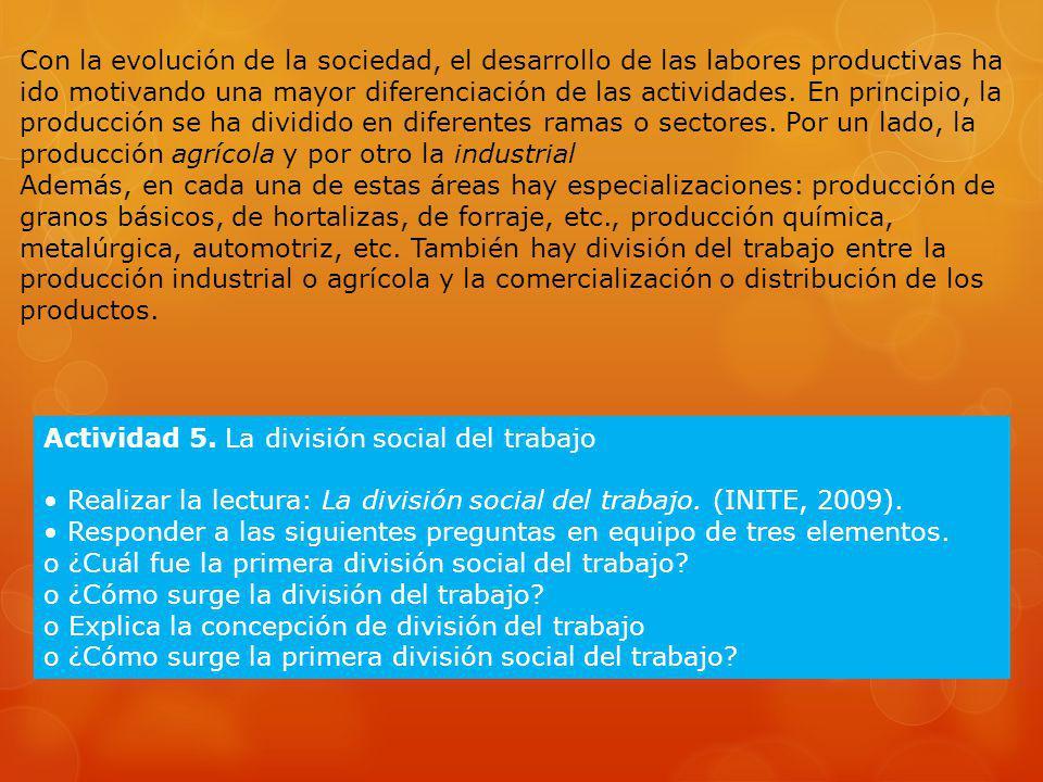 Actividad 5. La división social del trabajo Realizar la lectura: La división social del trabajo. (INITE, 2009). Responder a las siguientes preguntas e