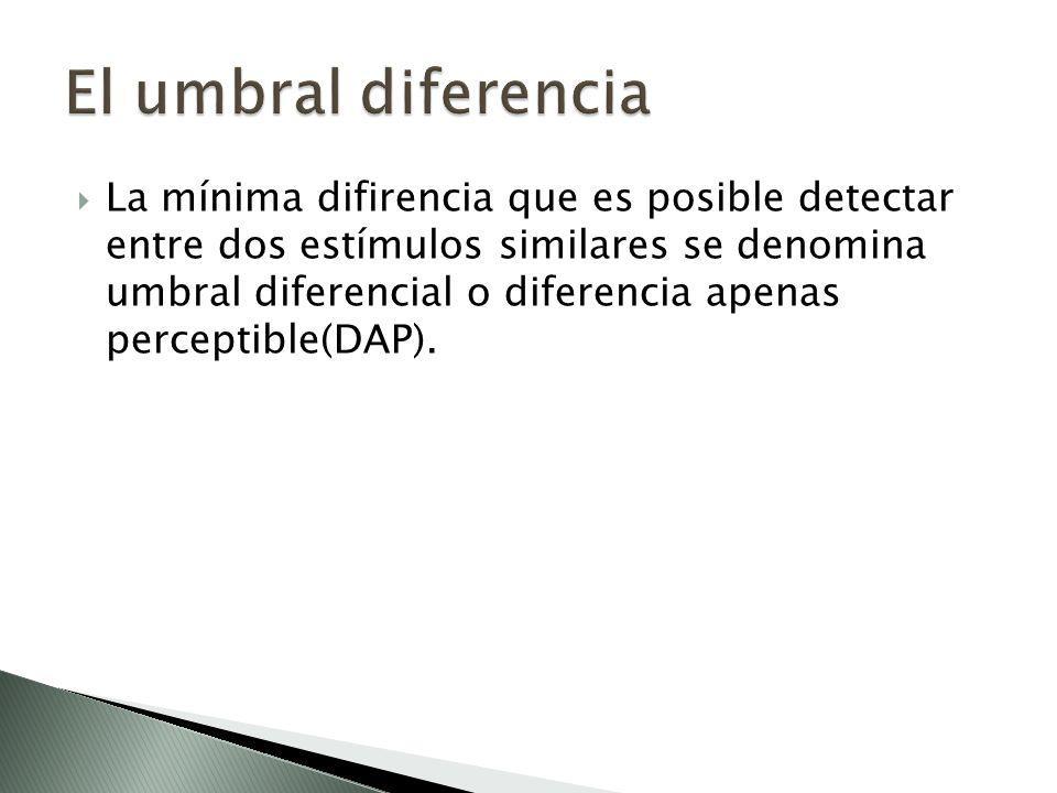 La mínima difirencia que es posible detectar entre dos estímulos similares se denomina umbral diferencial o diferencia apenas perceptible(DAP).
