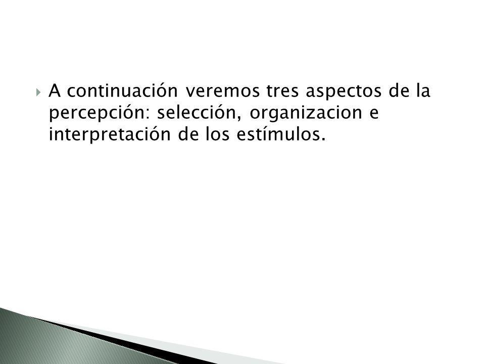 A continuación veremos tres aspectos de la percepción: selección, organizacion e interpretación de los estímulos.