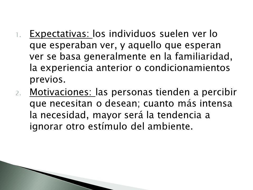 1. Expectativas: los individuos suelen ver lo que esperaban ver, y aquello que esperan ver se basa generalmente en la familiaridad, la experiencia ant