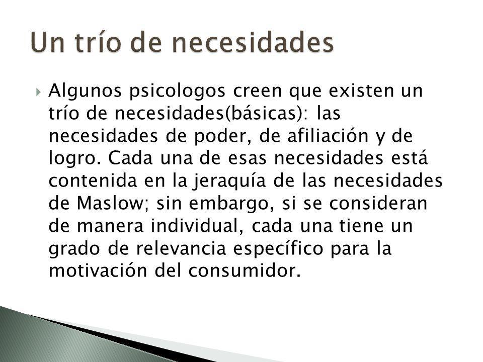 Algunos psicologos creen que existen un trío de necesidades(básicas): las necesidades de poder, de afiliación y de logro. Cada una de esas necesidades