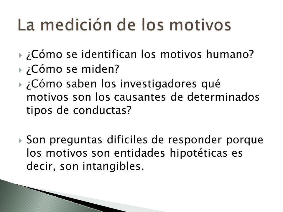 ¿Cómo se identifican los motivos humano? ¿Cómo se miden? ¿Cómo saben los investigadores qué motivos son los causantes de determinados tipos de conduct