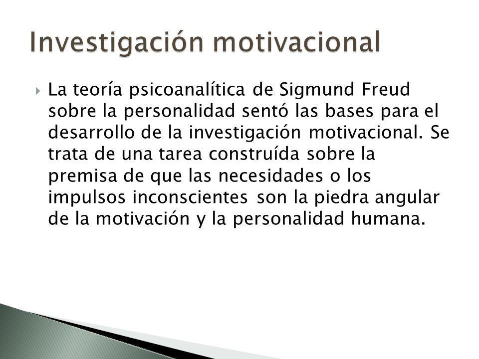 La teoría psicoanalítica de Sigmund Freud sobre la personalidad sentó las bases para el desarrollo de la investigación motivacional. Se trata de una t