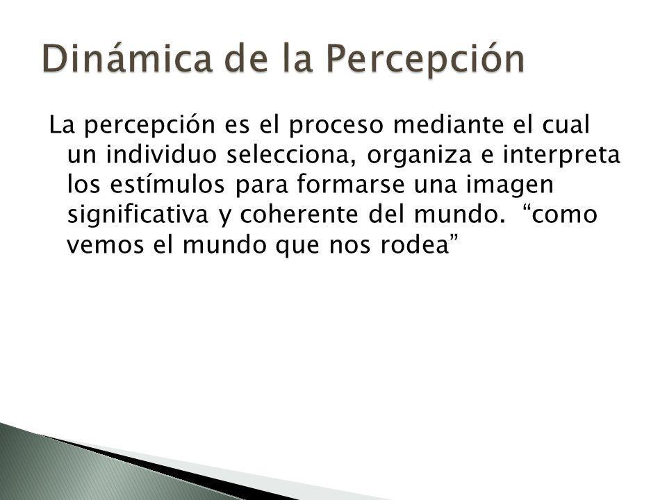 La percepción es el proceso mediante el cual un individuo selecciona, organiza e interpreta los estímulos para formarse una imagen significativa y coh