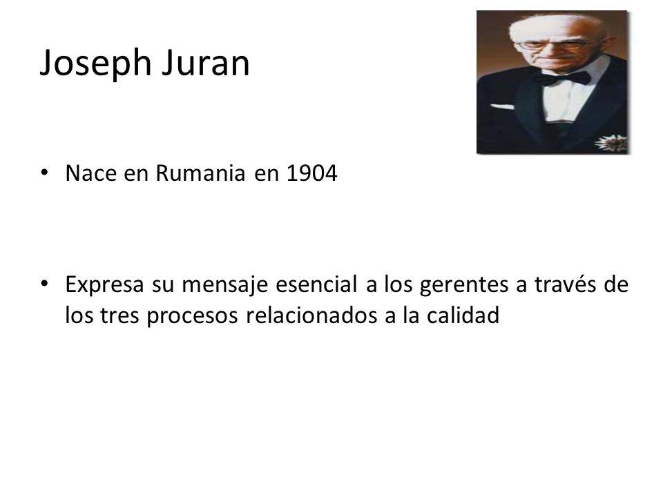 Joseph Juran Nace en Rumania en 1904 Expresa su mensaje esencial a los gerentes a través de los tres procesos relacionados a la calidad