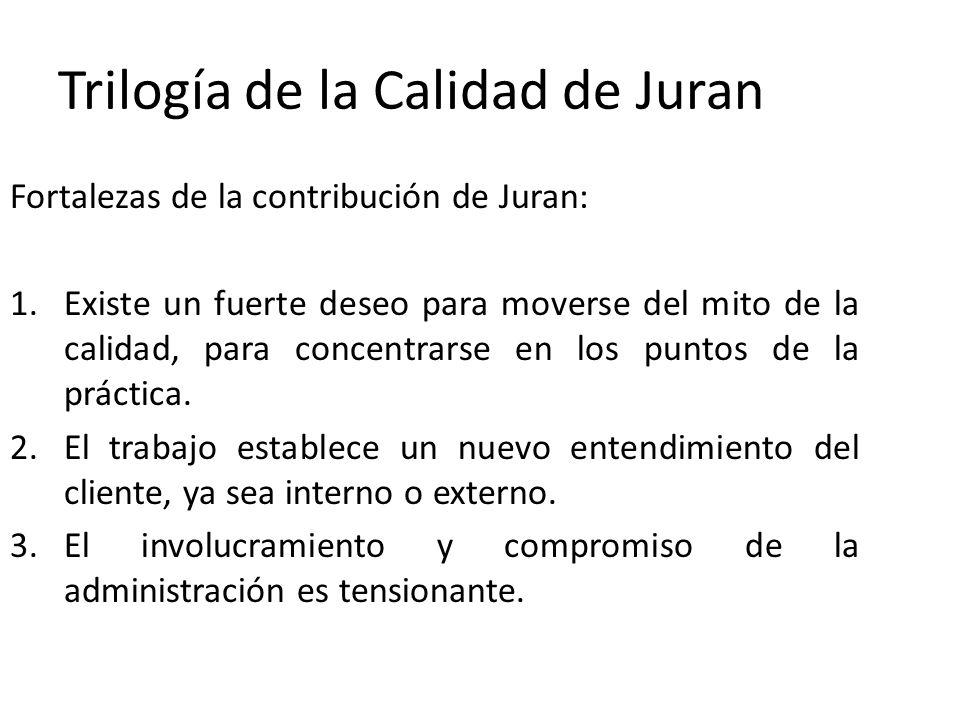 Trilogía de la Calidad de Juran Fortalezas de la contribución de Juran: 1.Existe un fuerte deseo para moverse del mito de la calidad, para concentrars