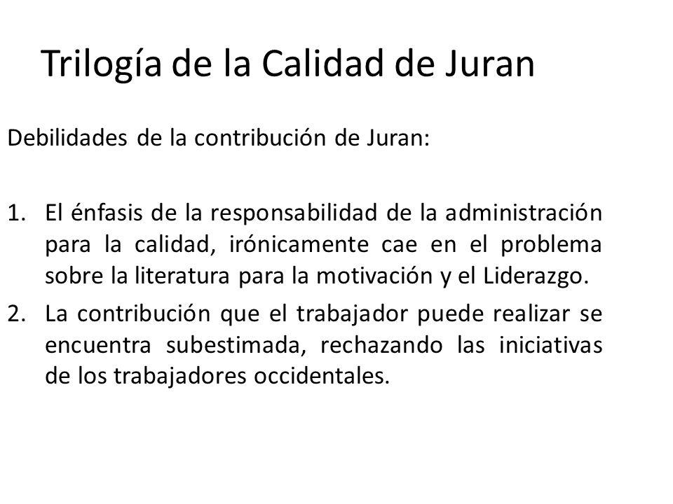 Trilogía de la Calidad de Juran Debilidades de la contribución de Juran: 1.El énfasis de la responsabilidad de la administración para la calidad, irón