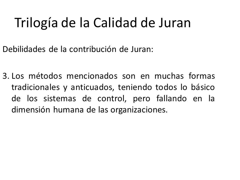 Trilogía de la Calidad de Juran Debilidades de la contribución de Juran: 3.Los métodos mencionados son en muchas formas tradicionales y anticuados, te