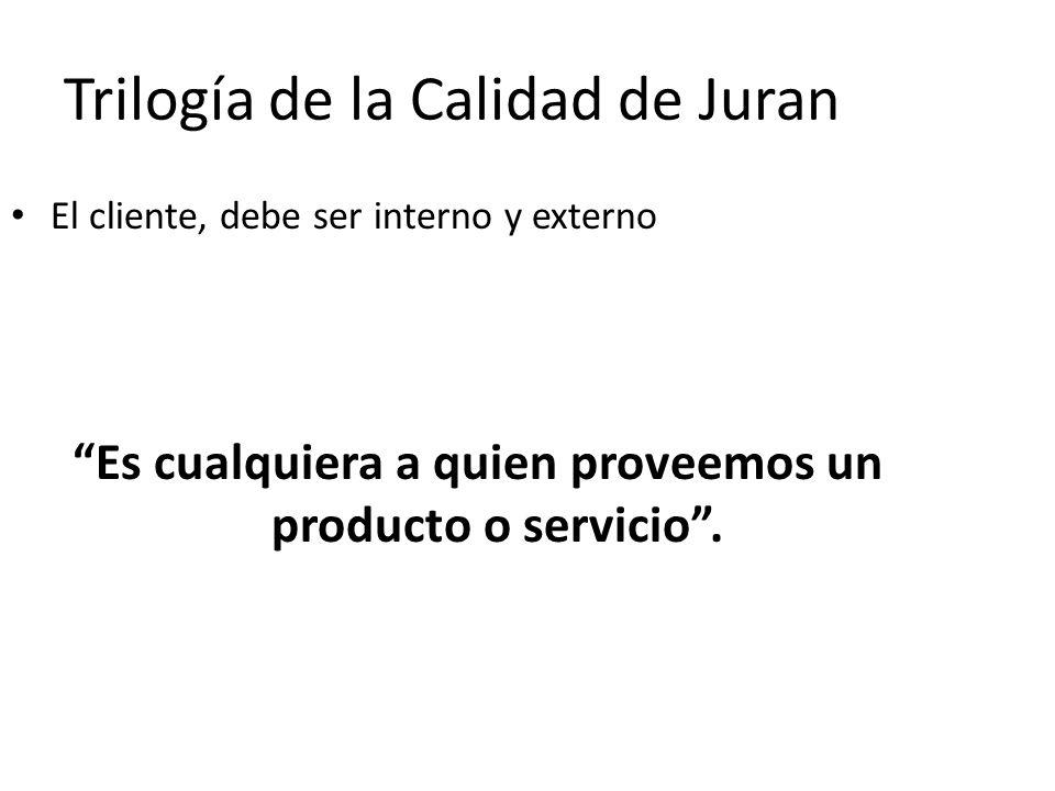 Trilogía de la Calidad de Juran El cliente, debe ser interno y externo Es cualquiera a quien proveemos un producto o servicio.