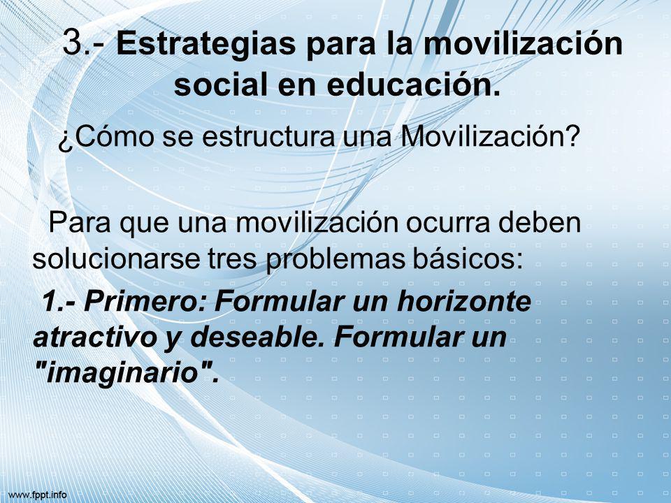 3.- Estrategias para la movilización social en educación. ¿Cómo se estructura una Movilización? Para que una movilización ocurra deben solucionarse tr