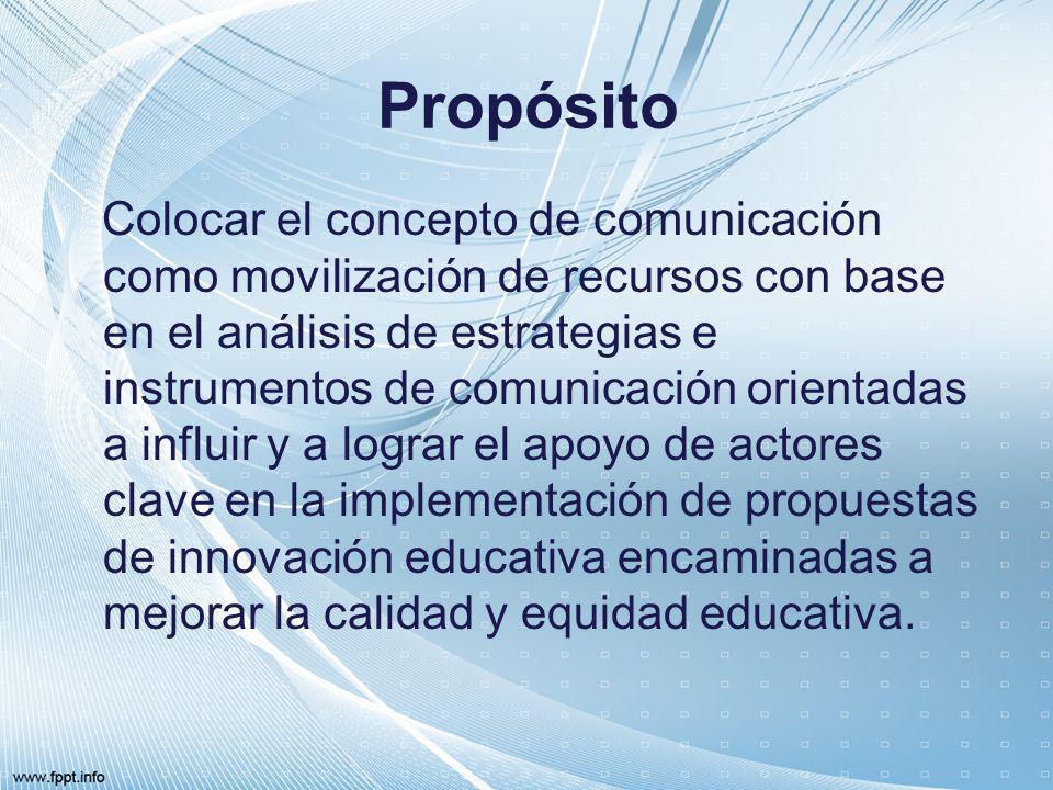 Propósito Colocar el concepto de comunicación como movilización de recursos con base en el análisis de estrategias e instrumentos de comunicación orie