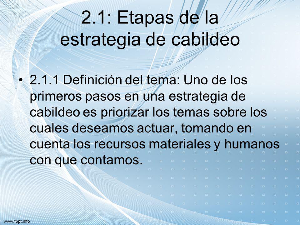 2.1: Etapas de la estrategia de cabildeo 2.1.1 Definición del tema: Uno de los primeros pasos en una estrategia de cabildeo es priorizar los temas sob