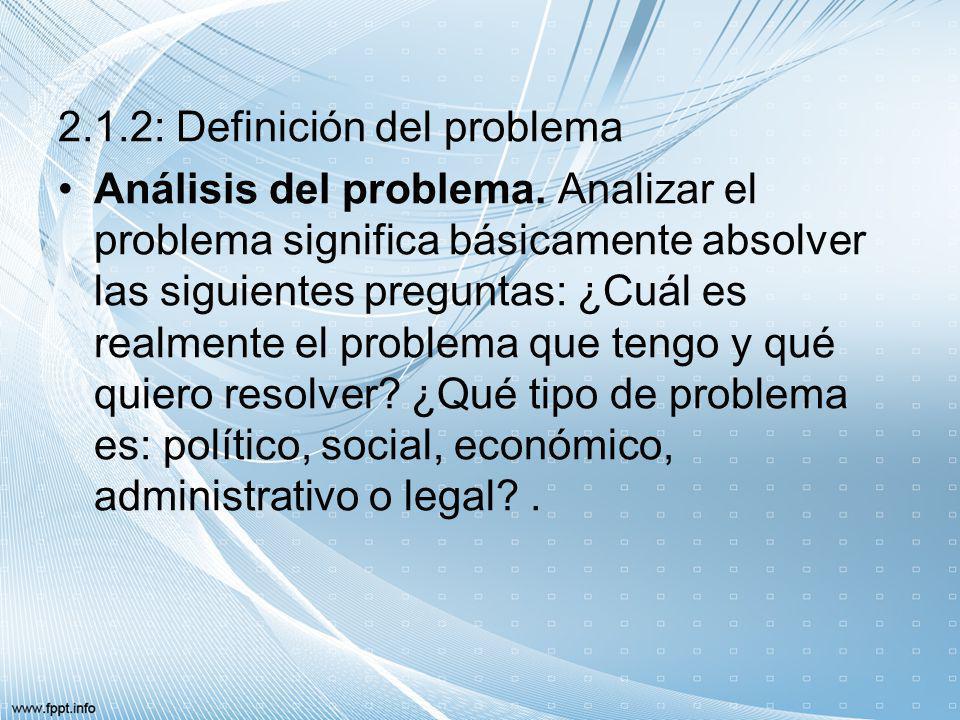 2.1.2: Definición del problema Análisis del problema. Analizar el problema significa básicamente absolver las siguientes preguntas: ¿Cuál es realmente