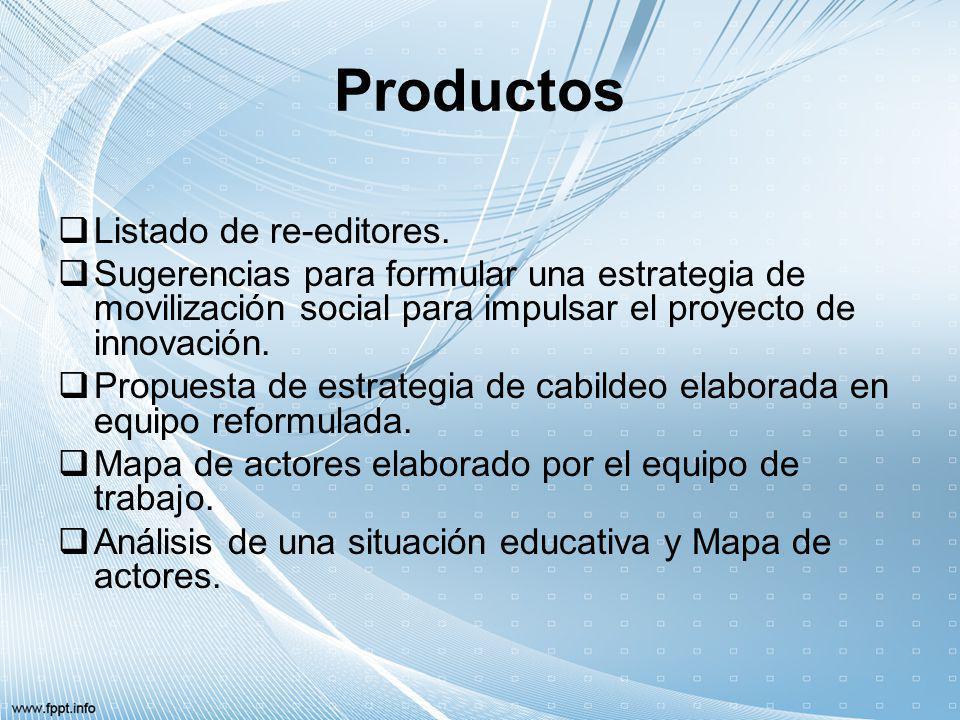 Productos Listado de re-editores. Sugerencias para formular una estrategia de movilización social para impulsar el proyecto de innovación. Propuesta d