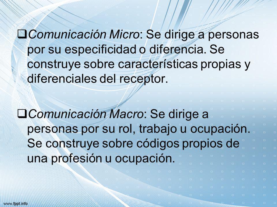 Comunicación Micro: Se dirige a personas por su especificidad o diferencia. Se construye sobre características propias y diferenciales del receptor. C