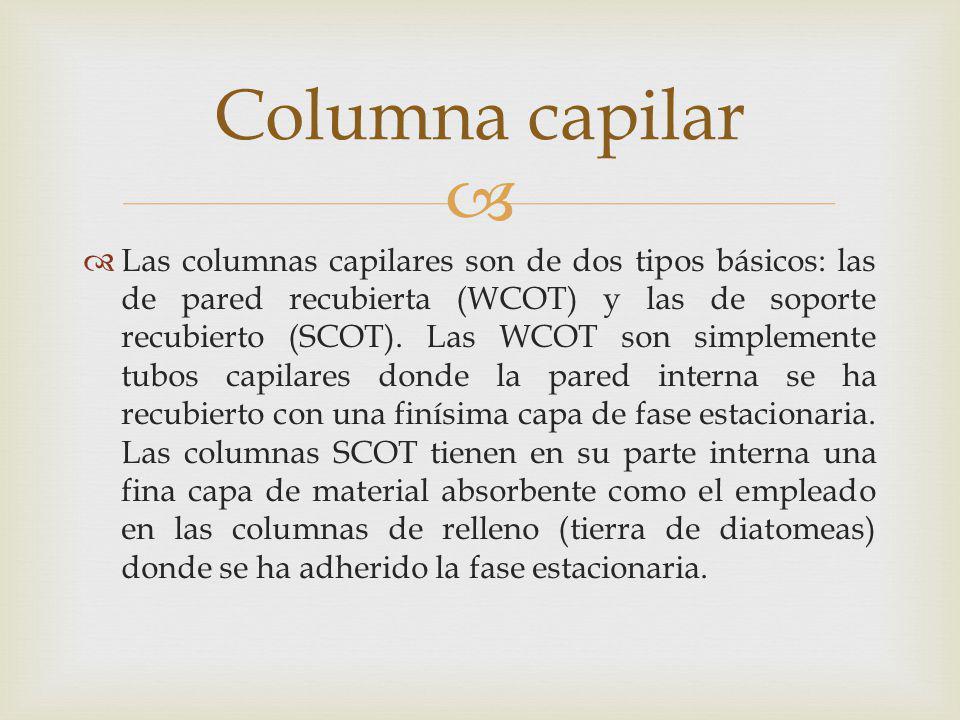 Las columnas capilares son de dos tipos básicos: las de pared recubierta (WCOT) y las de soporte recubierto (SCOT). Las WCOT son simplemente tubos cap