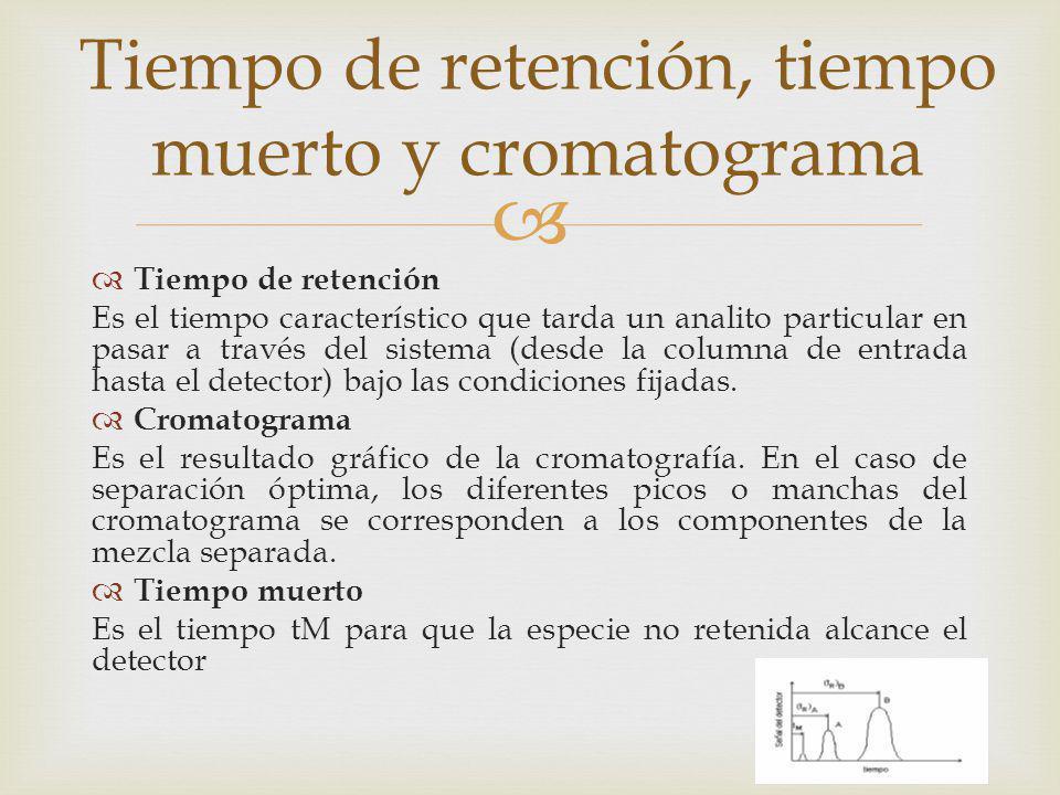 Tiempo de retención Es el tiempo característico que tarda un analito particular en pasar a través del sistema (desde la columna de entrada hasta el de
