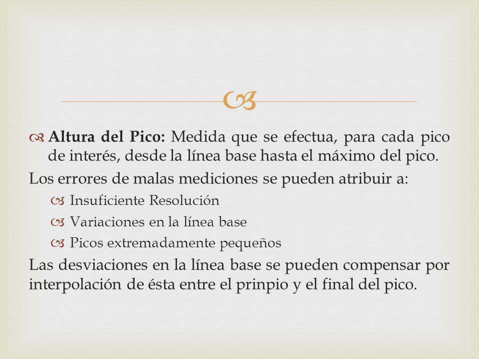 Altura del Pico: Medida que se efectua, para cada pico de interés, desde la línea base hasta el máximo del pico. Los errores de malas mediciones se pu