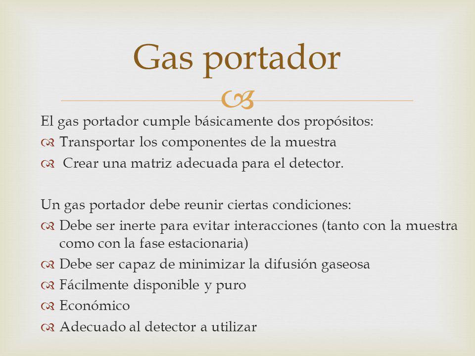 El gas portador cumple básicamente dos propósitos: Transportar los componentes de la muestra Crear una matriz adecuada para el detector. Un gas portad
