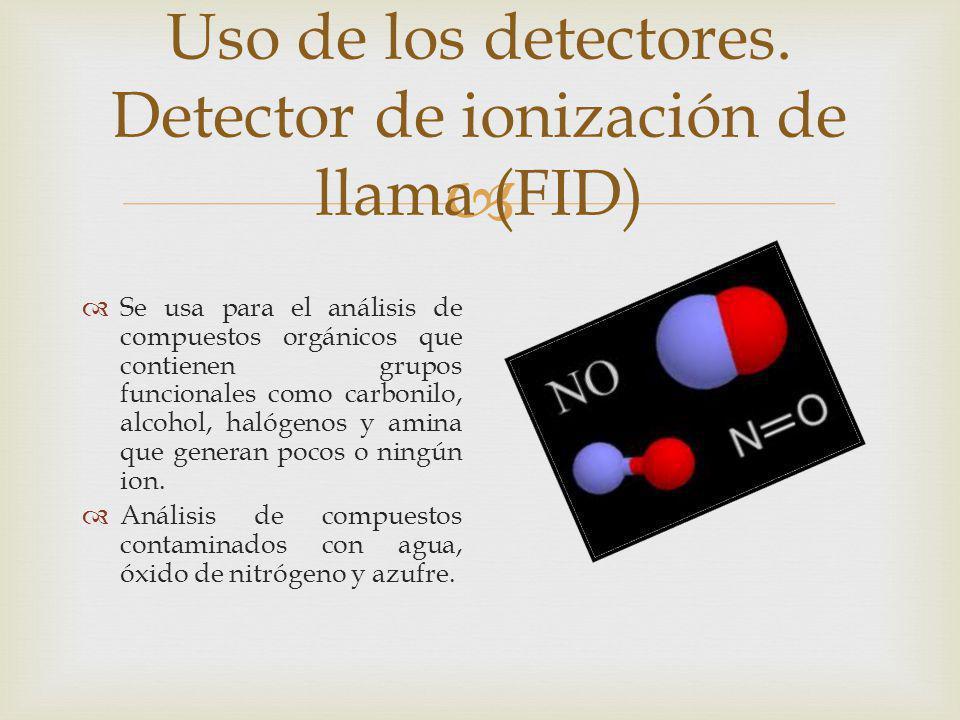 Uso de los detectores. Detector de ionización de llama (FID) Se usa para el análisis de compuestos orgánicos que contienen grupos funcionales como car