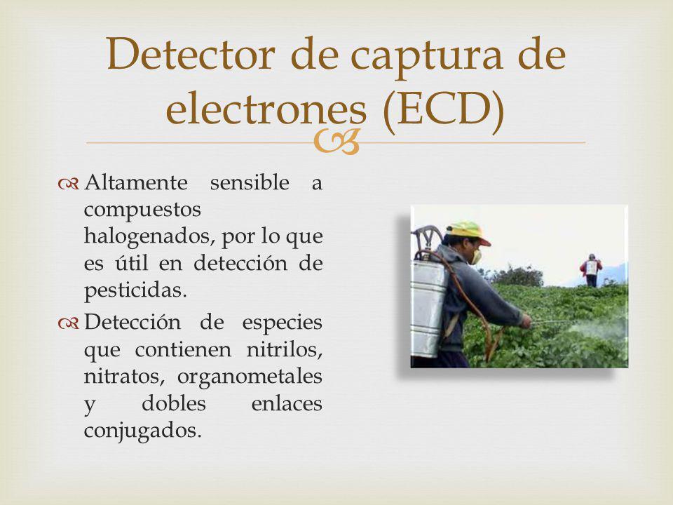 Detector de captura de electrones (ECD) Altamente sensible a compuestos halogenados, por lo que es útil en detección de pesticidas. Detección de espec