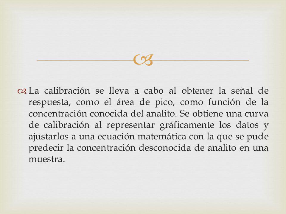 La calibración se lleva a cabo al obtener la señal de respuesta, como el área de pico, como función de la concentración conocida del analito. Se obtie