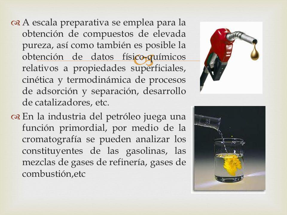 A escala preparativa se emplea para la obtención de compuestos de elevada pureza, así como también es posible la obtención de datos físico-químicos re