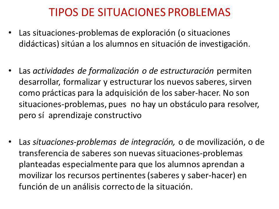TIPOS DE SITUACIONES PROBLEMAS Las situaciones-problemas de exploración (o situaciones didácticas) sitúan a los alumnos en situación de investigación.