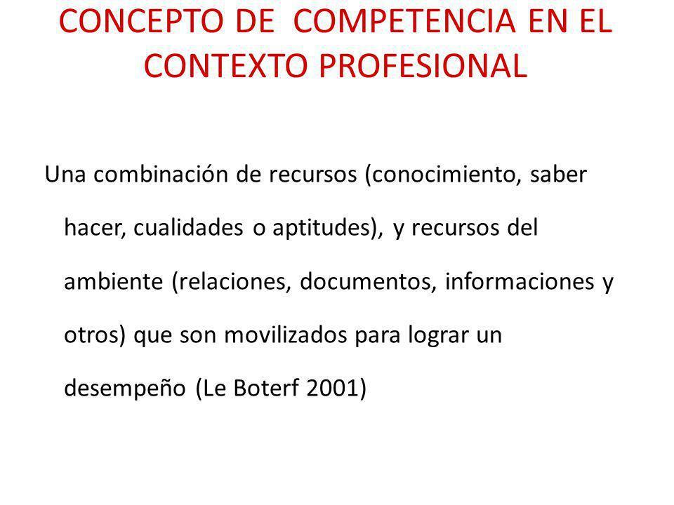 CONCEPTO DE COMPETENCIA EN EL CONTEXTO PROFESIONAL Una combinación de recursos (conocimiento, saber hacer, cualidades o aptitudes), y recursos del amb