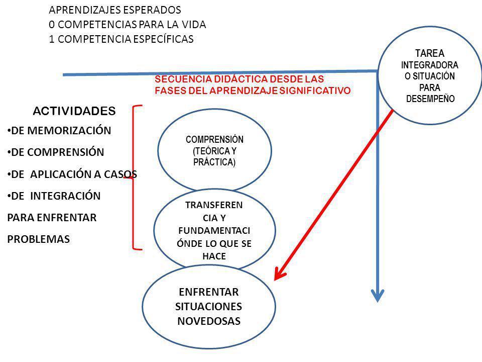 TAREA INTEGRADORA O SITUACIÓN PARA DESEMPEÑO APRENDIZAJES ESPERADOS 0 COMPETENCIAS PARA LA VIDA 1 COMPETENCIA ESPECÍFICAS COMPRENSIÓN (TEÓRICA Y PRÁCT