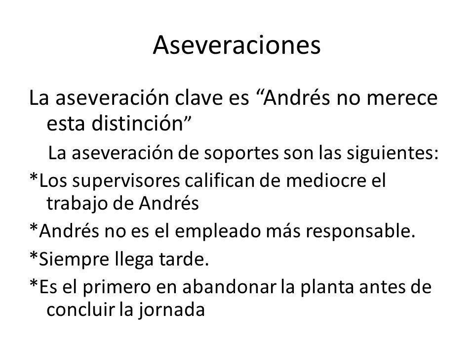 Ejemplo: Andrés fue seleccionado por los jefes para recibir un reconocimiento en su trabajo. Sus compañeros opinan que él no merece esta distinción; l