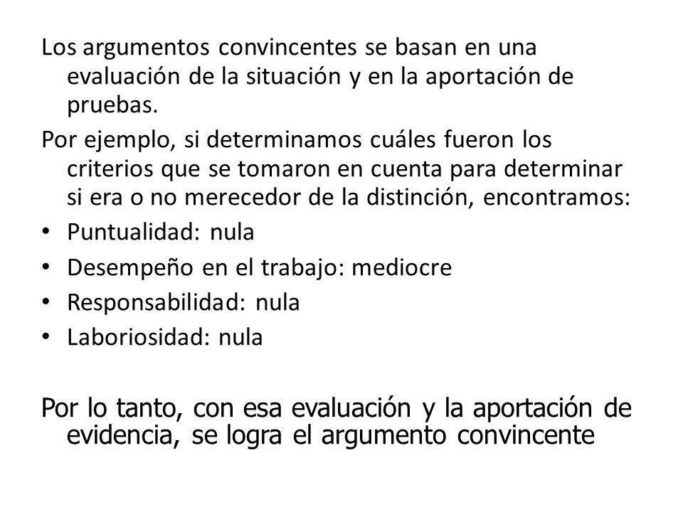 Aseveraciones La aseveración clave es Andrés no merece esta distinción La aseveración de soportes son las siguientes: *Los supervisores califican de m
