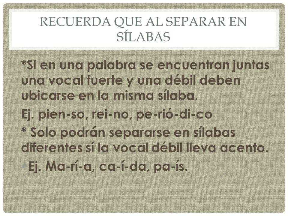 EL DIPTONGO * Es una sílaba formada por dos vocales que no se pueden separar.