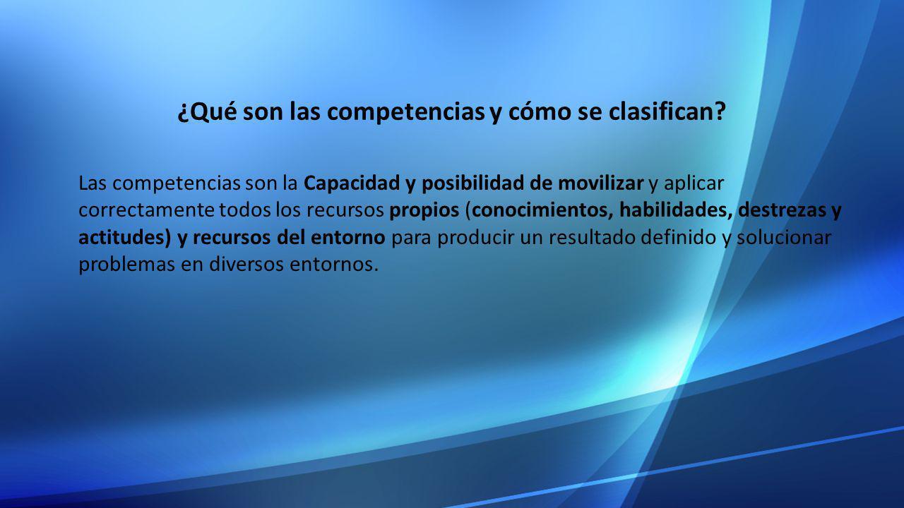 ¿Qué son las competencias y cómo se clasifican? Las competencias son la Capacidad y posibilidad de movilizar y aplicar correctamente todos los recurso