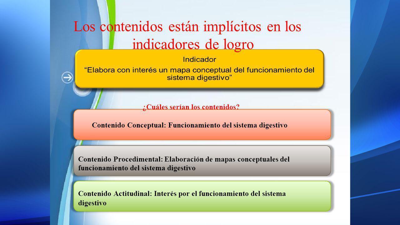 Los contenidos están implícitos en los indicadores de logro ¿Cuáles serían los contenidos? Contenido Conceptual: Funcionamiento del sistema digestivo