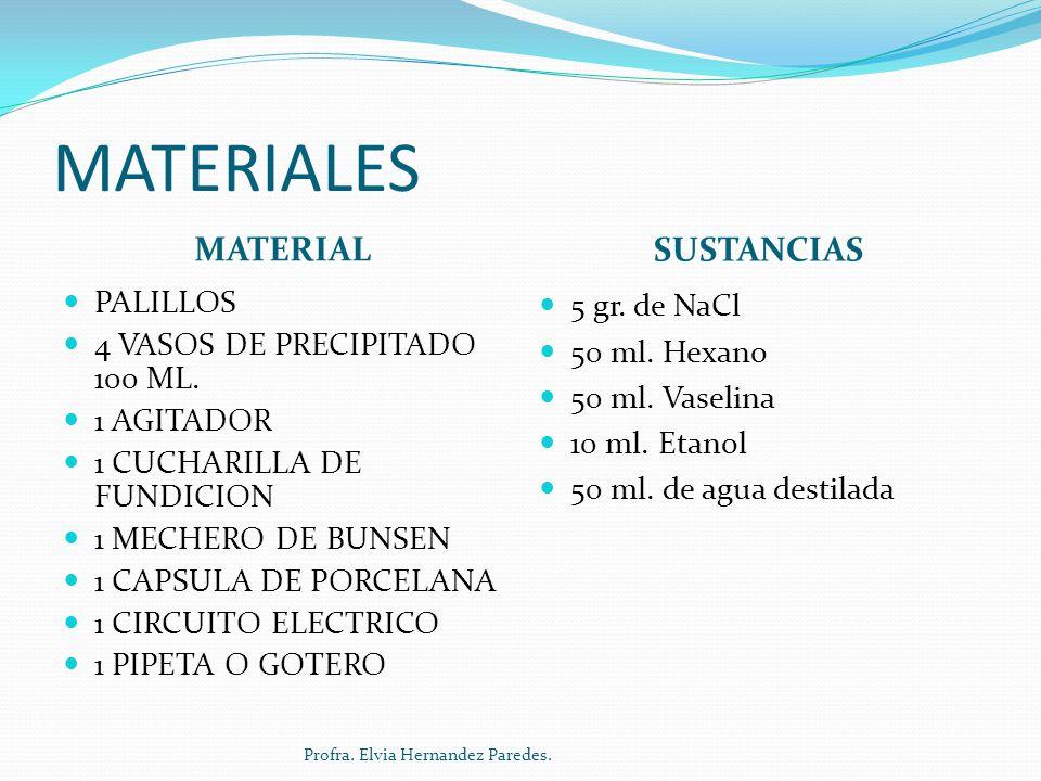 MATERIALES MATERIAL SUSTANCIAS PALILLOS 4 VASOS DE PRECIPITADO 100 ML. 1 AGITADOR 1 CUCHARILLA DE FUNDICION 1 MECHERO DE BUNSEN 1 CAPSULA DE PORCELANA