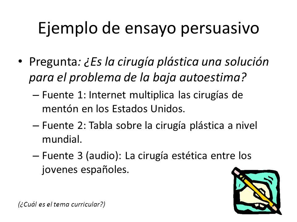 Ejemplo de ensayo persuasivo Pregunta: ¿Es la cirugía plástica una solución para el problema de la baja autoestima? – Fuente 1: Internet multiplica la