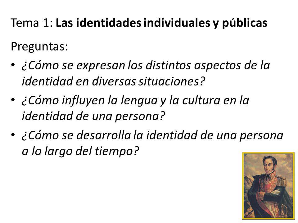 Tema 1: Las identidades individuales y públicas Preguntas: ¿Cómo se expresan los distintos aspectos de la identidad en diversas situaciones? ¿Cómo inf