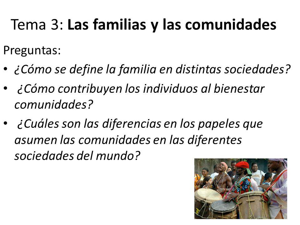 Tema 3: Las familias y las comunidades Preguntas: ¿Cómo se define la familia en distintas sociedades? ¿Cómo contribuyen los individuos al bienestar co