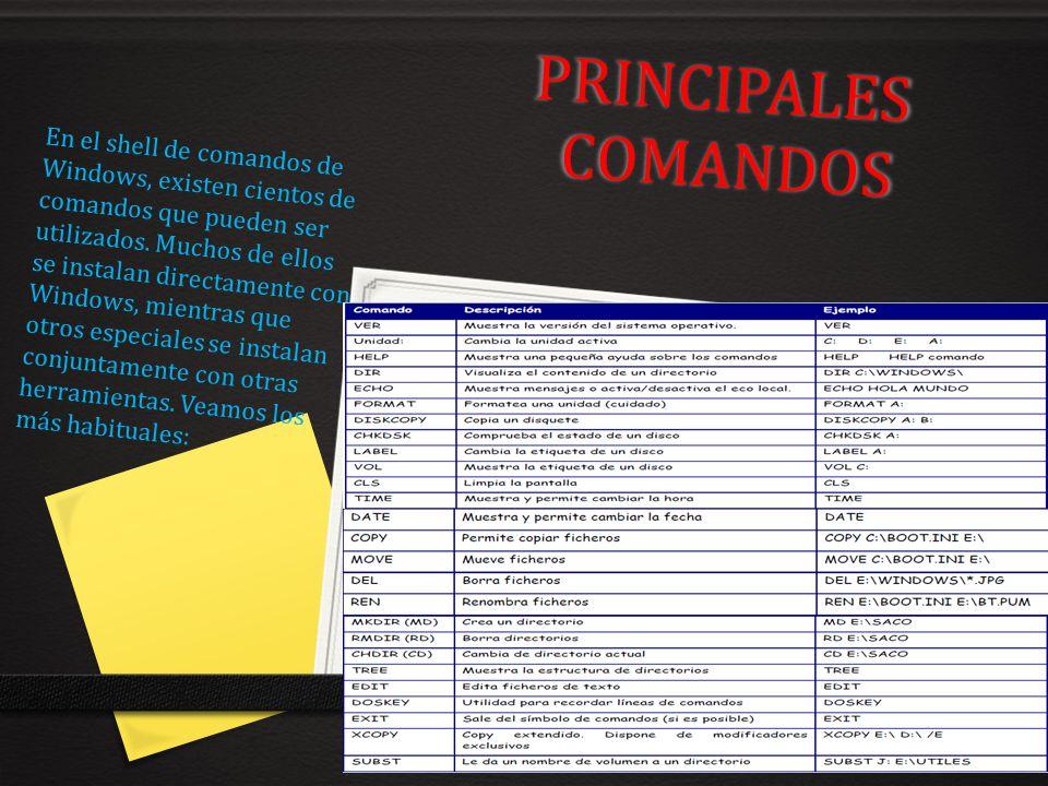 PRINCIPALES COMANDOS En el shell de comandos de Windows, existen cientos de comandos que pueden ser utilizados. Muchos de ellos se instalan directamen
