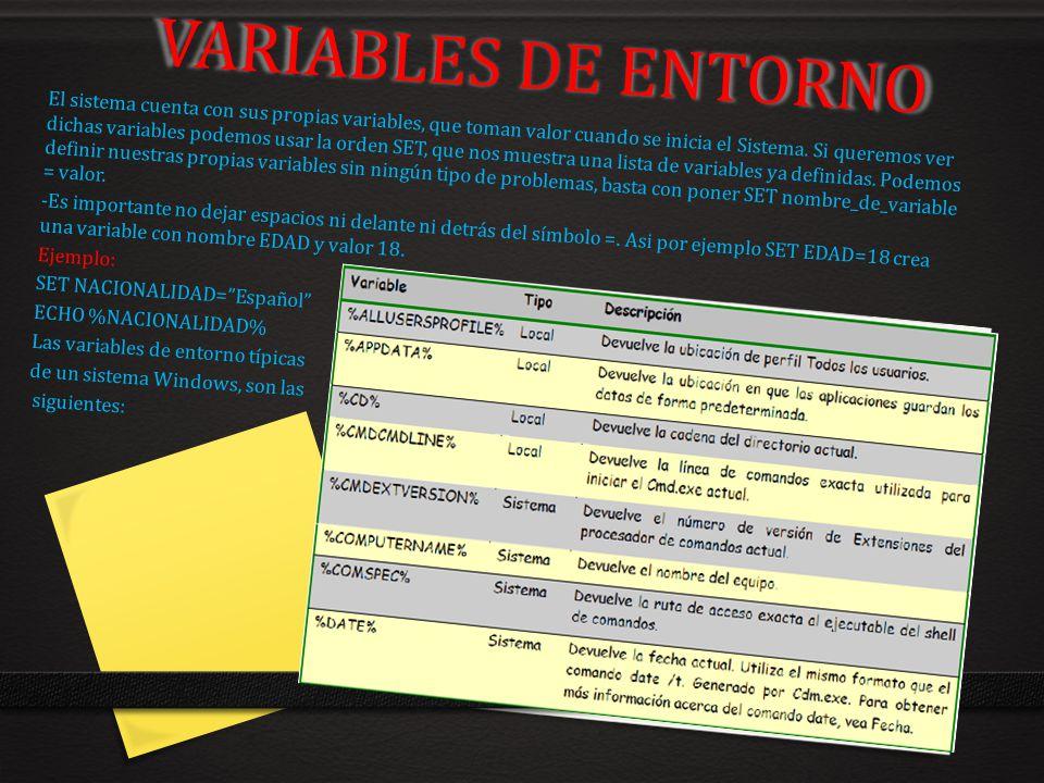 VARIABLES DE ENTORNO El sistema cuenta con sus propias variables, que toman valor cuando se inicia el Sistema. Si queremos ver dichas variables podemo