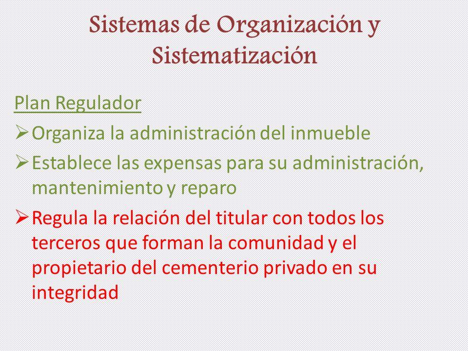 Sistemas de Organización y Sistematización Plan Regulador Organiza la administración del inmueble Establece las expensas para su administración, mante